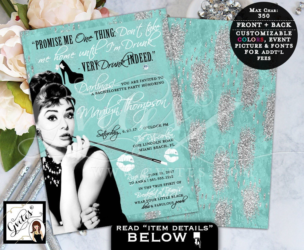 Breakfast at Themed, Bachelorette Party Invitation, turquoise blue ...