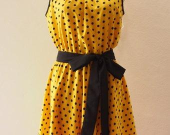 Yellow Dress Polka Dot Dress Retro Summer Dress Sundress Vintage Style
