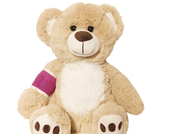 Purple Cast Broken Arm Higgy Bear