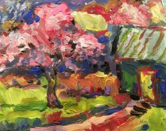 Fleurs de pommier expressionniste peinture avec des couleurs vives et colorées par Russ Potak