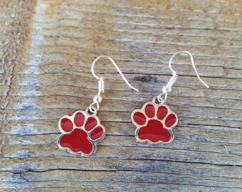 Red Paw Print Enamel Charm Earrings Wildcats Bears Cubs School Spirit mascot Dog Cat Foot Print tween teens college high school jewelry