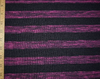 1 yard Magenta and black heather striped fabric Knit material WOVEN knit stretch stretchy stripes stripe lines line  purple pink feminine