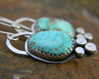 Rustic Turquoise Mountain Dangle Earrings - rustic sterling silver