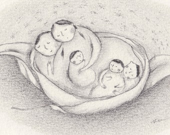 ORIGINAL pencil art, family pencil drawing, whimsical portrait, naive illustration, natural art, nature inspired, mother, father, baby