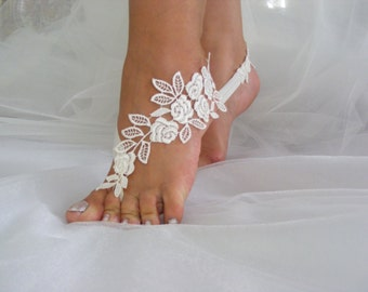 Ivory/Black/Rose/White Lace Barefoot Sandals, Beach Wedding Sandals, Wedding Anklets, Wrist Lace Sandals, Embroidered Sandals