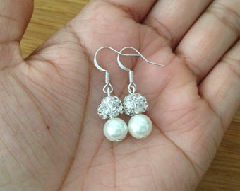 Ivory Pearl Drop Earrings, Cream Pearl and Rhinestone Earrings