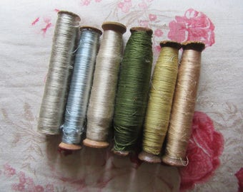 Set of SIX Antique French silk on original antique bobbins,thread,embroidery,ribbon work,trim,silk,textile,floss