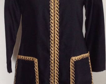 1960's dress, metallic trimmed black long sleeved dress