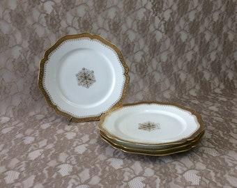 "4 Wm Guerin Limoges Dinner Plates, Higgins & Seiter Antique Gold Encrusted 9 34"" Porcelain Dishes, Scalloped Rim and Medallion Center"