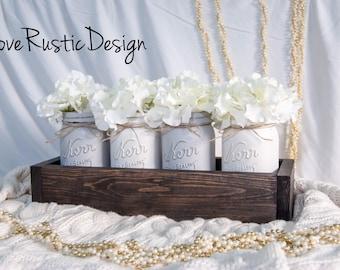 Set of 4 Mason Jar Centerpiece in Rustic Planter, Rustic Home Decor, Mason Jar Decor, Rustic Decor, Canada, Neutral Toned Jars