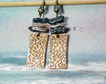 art-deco style Earrings made of goldbronze rectangles with white or/and dark grey baroque freshwater pearls, Silverbronze or copper possible