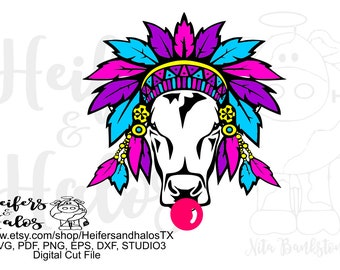Gypsy cow heifer digital file, sublimation, printable, digital cut file, svg, pdf, png, eps, dxf, ranchy, punchy. cow svg