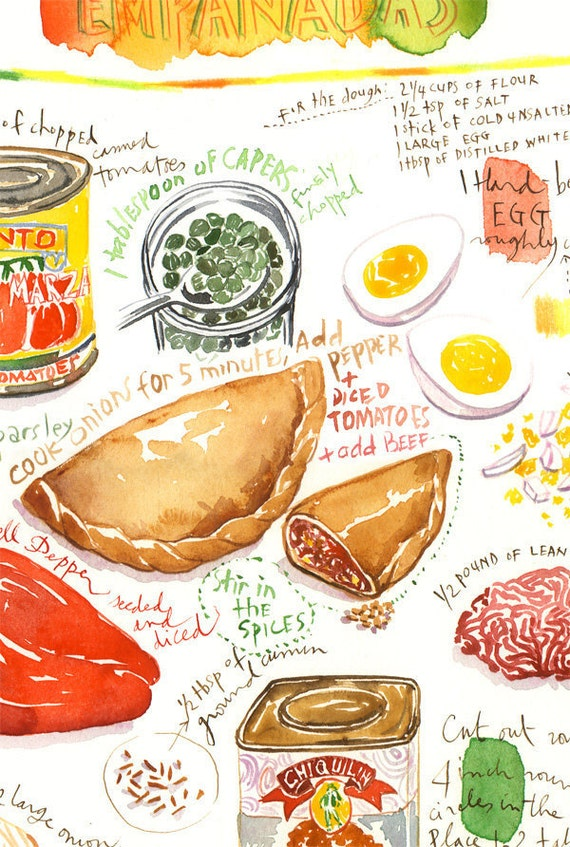 Empanada recipe print illustrated recipe latin american food empanada recipe print illustrated recipe latin american food poster spanish decor world food painting watercolor art kitchen wall art forumfinder Gallery