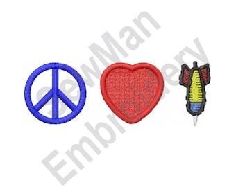 Peace Love Darts - Machine Embroidery Design
