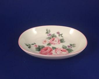 Vintage porcelain soap dish/ trinket dish... made in Japan.. hand painted pink roses...1950's