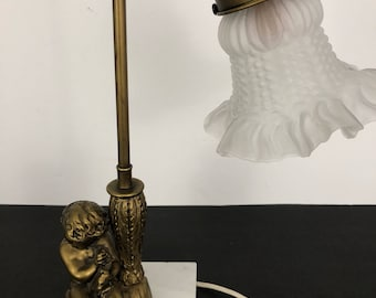 Angel Lamp, Cherub Lamp On Marble Base, Gooseneck Angel Lamp, Angel Trumpet  Lamp