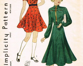 VINTAGE 1930s 1940s Simplicity Girls DRESS PATTERN 2606 Sleeve, Collar, and Trim Options Size 8