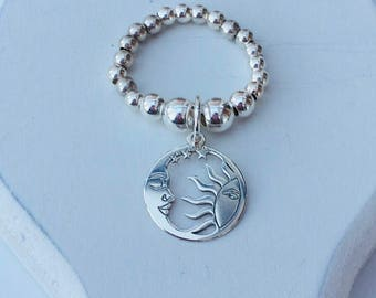 Sterling Silver SUN & MOON Ring