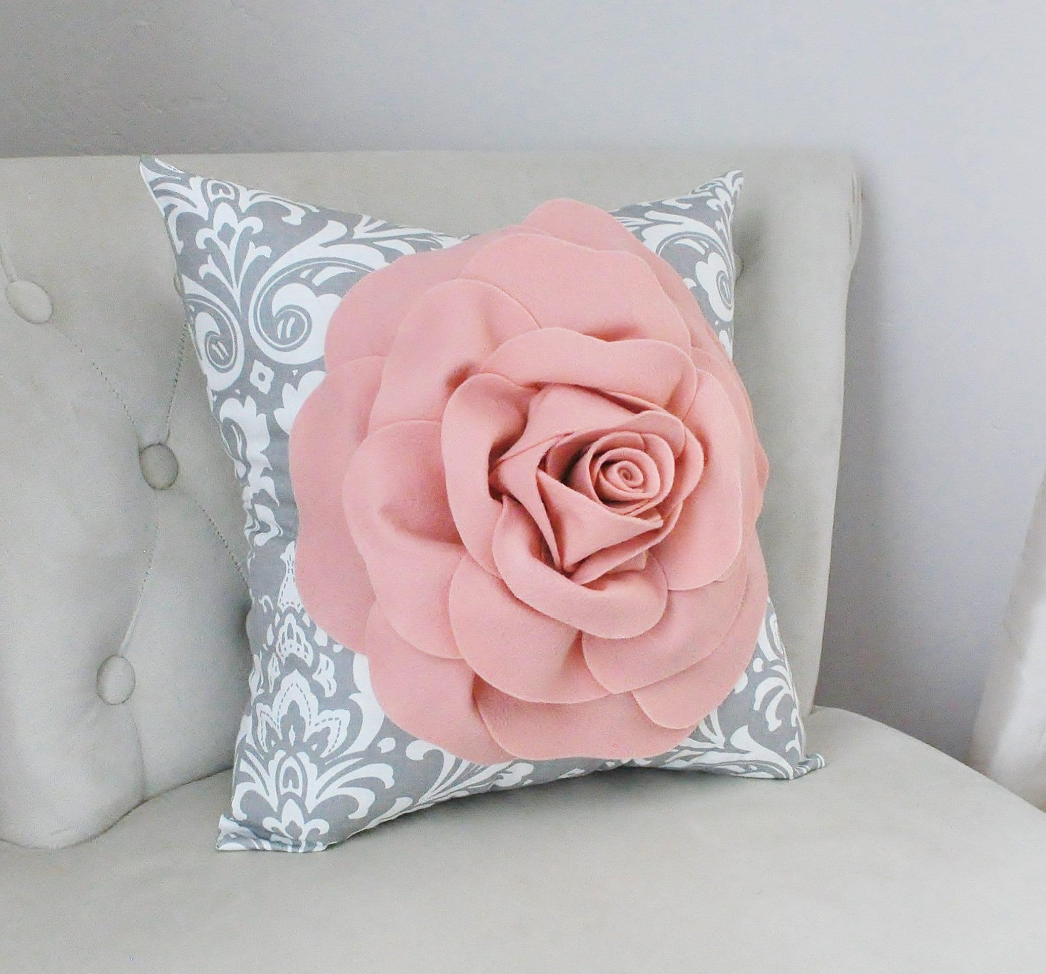 Blush Pink Rose Pillow Boho Throw Pillow Nursery Decor