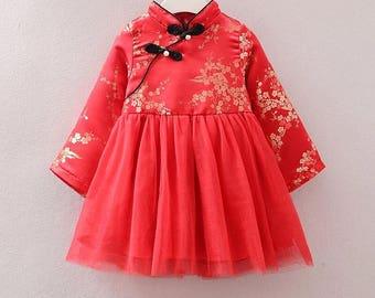 Cherry Blossom Cheongsam Fleece Tutu Dress for Kids Chinese New Year