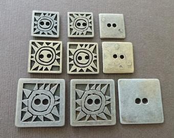 Vintage Square Tribal Sun Metal Buttons Primitive Embellishment Craft Supply