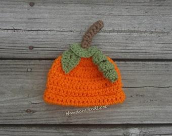 Pumpkin Hat, Crochet Pumpkin Hat, Pumpkin Patch Hat, Baby Pumpkin Hat, Pumpkin Photo Prop Hat, Pumpkin Hat for Baby Girl or Boy Fall Hat
