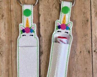 Unicorn Lip Balm Holder Key Chain, Unicorn Crown Key Fob, Keychain