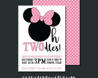 Minnie Mouse Birthday Invitation | OH TWODLES | Pink or Red Polka Dots | 2nd Birthday Party | 5x7