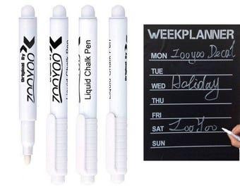 5x White Liquid Chalk Pen 4mm Marker For Glass Window Chalkboard Blackboard, Fabric marker, erase after dry,