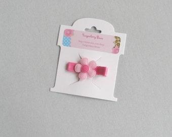 Felt Daisy Applique Hair Clip - Light Pink and Hot Pink