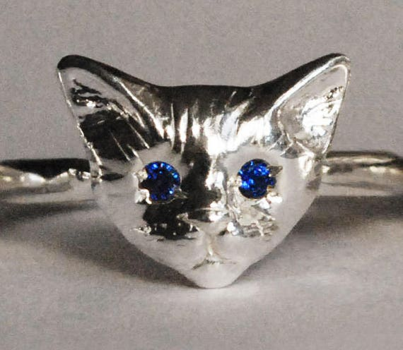 Sterling Silver Kitty Cat Ring with Blue Sapphire or Blue Spinel Eyes
