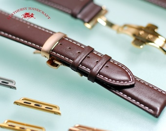 Box Calf Brown Genuine  Leather - Apple watch band with Deployment Buckle  for 38mm and 42mm watch strap