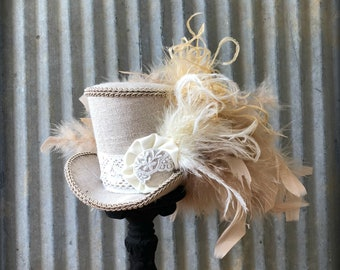 Mini Top Hat, Boho Mini Hat, Beige and Cream hat, Tea Party Hat, Alice in Wonderland, Mad Hatter Hat, Tea hat, Mad TEa Party hat