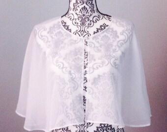 Ready to ship / Bridal capelet - Ivory chiffon - Cover-up