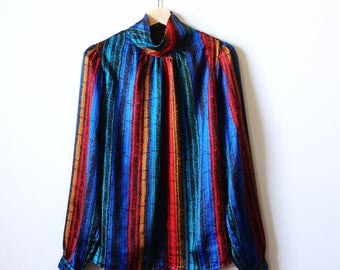 Vintage Gathered Collar Abstract Stripe Blouse / 70s Slinky Secretary Blouse / Primary Colors / Vintage Rainbow Blouse