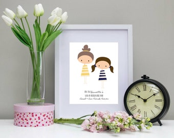 Personalised Best Friends Print only Just 2 brunettes with an unbreakable bond