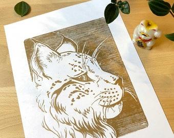 Lynx / / original linocut