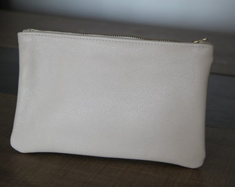Beige leather clutch