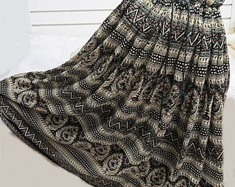 Vintage 1970 Indian Cotton Gauze Hippy Skirt   #531