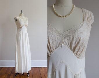 1940's Satin and Lace Bias Slip Dress Size M/L