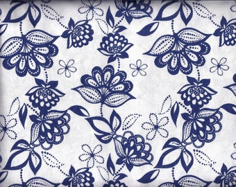 White and Blue Floral Curtain Valance