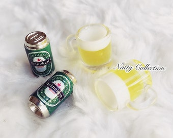 Miniature Beer Mug,Miniature Beer Can,Miniature dolls house,miniature beer,miniature jewelry,Beer,Miniature Drink,Miniature Beverage