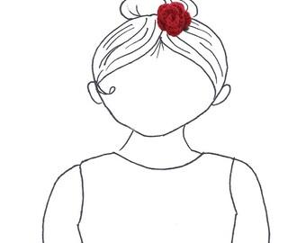 Red Rose Crochet Hair Clip
