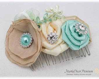 Brooch Hair Comb with Handmade Flowers, my Stamen's Accent and Cluster in Champagne, Tan, Aqua (Mint) and Ivory