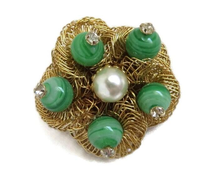 Weiss Bird's Nest Brooch, Vintage Art Glass, Gold Tone Pin, Faux Pearl Rhinestone Pin