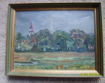 Original Oil Painting New England, Original Oil by Robert Ernest Fieux, Signed Oil