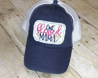 One Blessed Mama Distressed Trucker Hat