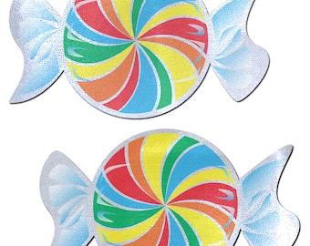 Pasties - Rainbow Swirl on White Nipple Pasties by Pastease® o/s