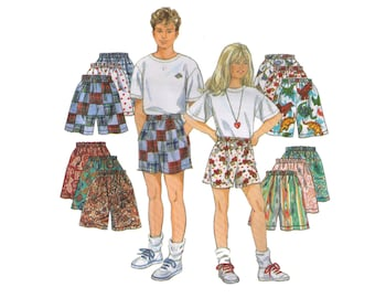 Uncut Simplicity 9052, 90s sewing pattern, size 7-14 girl's and boy's shorts pattern, beach shorts, summer shorts, athletic shorts