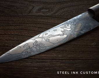 "Personalized Chefs Knife, Japanese 8"" Kitchen Knife, Sakura design, Hand Etched"